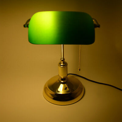 1x Bankers Desk Lamp Table Green VINTAGE ANTIQUE Advocate + 1x E27 5W LED Bulbs