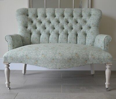 Small Two Seater Armchair Chair/Sofa in a Printed Aqua Floral Design