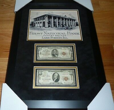 $5 & $10 1929 First Bank Of Lake Forest, Illinois National Currency Framed Lot
