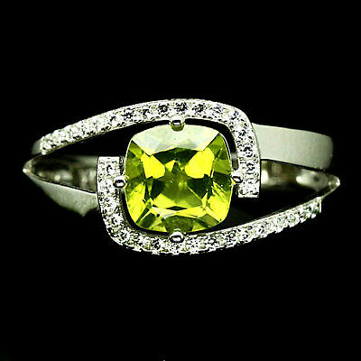 NATURAL! 7 X 7 mm. GREEN PERIDOT & WHITE CZ RING 925 SILVER STERLING WHITE GOLD