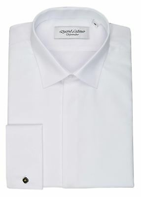 David Latimer Mens Marcella Fly Front Wing Collar Dress Shirt in White