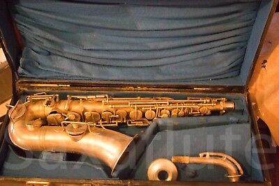 Alto saxophone made by J Gras of Paris.  Old and in old box.