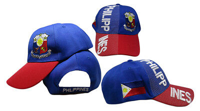 Philippines Country Letters Emblem Royal Blue Red Bill 3-D Embroidered Cap Hat