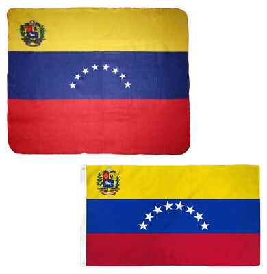 "Wholesale Combo Venezuela 8 Star 50""x60"" Fleece & 3'x5' Polyester Flag"