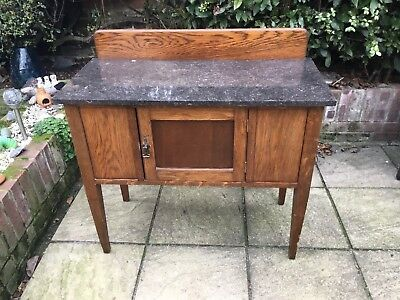 Antique 1920s Solid Oak Marble Topped Washstand. Local Delivery Available.