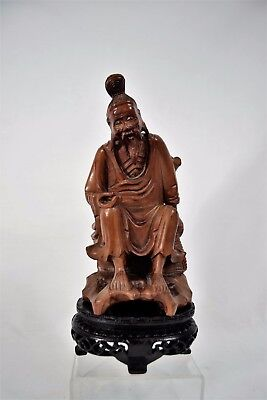 Antique Vintage Chinese Wooden Carving Old Fisherman On Stand Statue Figurine