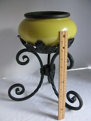 "Vintage Antique Victorian Cast Iron Plant Stand w/Yellow Glass Planter 14"" Tall"