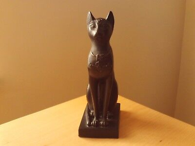 Vintage Large Egyptian Black Cat Hand Carved Statue Figurine.
