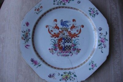 Chinese Famille Rose Armorial Plate Qianlong Circa 1750 Cracked