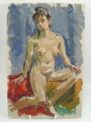 British Impressionist oil painting on board by Roy Pettitt portrait nude lady 18