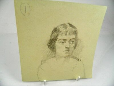 Early 20th century English School pencil drawing portrait of a young lady