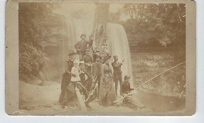 Antique Cabinet Photo Group Men Women Child on Outing Fishing Shooting Waterfall
