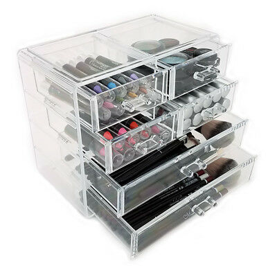 Clear Acrylic Cosmetic Organiser 6 Drawers Makeup Jewellery Display Box Case