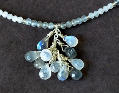 Moonstone,labradorite Beads Briolette 925 Silver Jump Rings ( For Necklace) #167