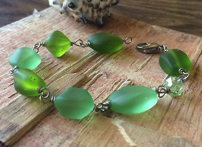"Sea Glass Bracelet Bright Frosty Chunky Nuggets 7 3/4"" Green Peridot Green"