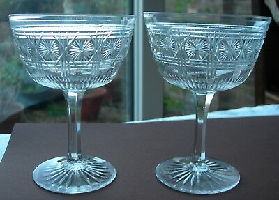 Pair Of Antique Hexagonal Stem Daisy / Star Cut Glass Champagne Saucers / Coupes