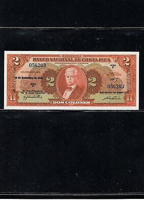 1946 Costa Rica Currency, 2 Colones Note, Early Reprint