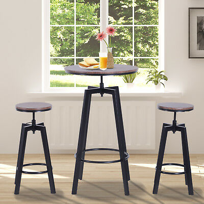 3 Pieces Bar Table 2 Stools Set Round Dining Chairs Steel Pub Adjustable Wooden