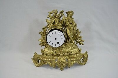 French Gilt Ormolu Figurine Mantle Clock