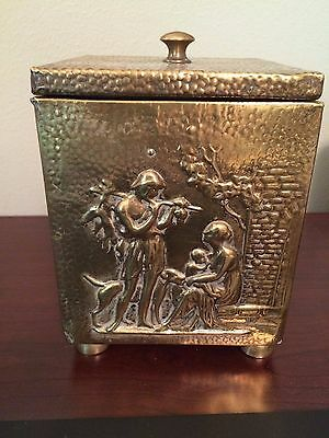 Antique Vintage English Brass Embossed Footed Tea Tobacco Caddy Box Family Motif