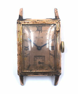 ANTIQUE ART DECO ELGIN 536 WRISTWATCH STEPPED CASE ROSE DIAL GOLD FILL c1939