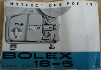 Bolex 18-5 Super 8Mm Projector Instructions Booklet See Pictures For More Infor
