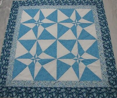 """PATCHWORK Stars Quilt Top PIECED~""""Blues & White 1"""" Medallion,Wall,Lap  50""""Sq USA"""