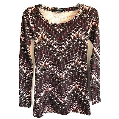 About A Girl Womens XS Top Knit Stretch Chevron Long Sleeve Pullover MultiColor