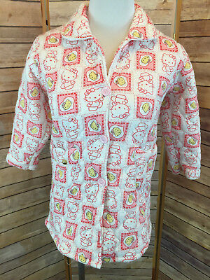 VTG Child's Quilted Hello Kitty House Coat Size Small Pink Feifengxing