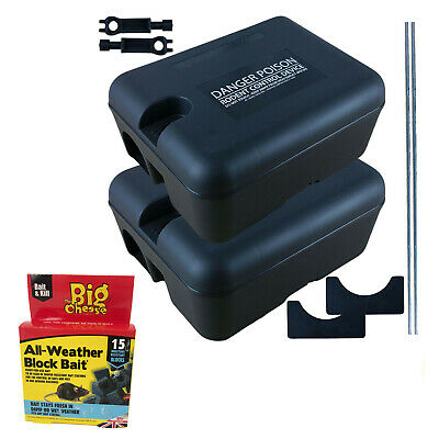 2 x PROFESSIONAL RODENT BOX TRAP STATION - RAT MICE MOUSE + 2 POISON BAIT PELLET