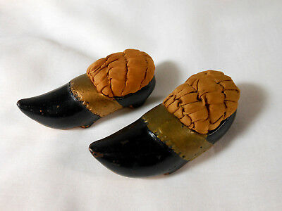 Antique Pair Of Victorian Pin Cushion Shoes Tufted Silk