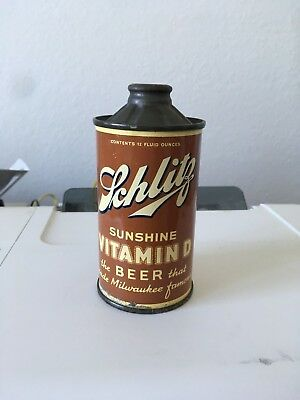 Schlitz Sunshine Vitamin D Beer FBIR cone top beer can, Milwaukee WI
