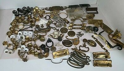 Vintage Lot Drawer Pulls Handles Knobs Brass Chrome etc. over 10 pounds