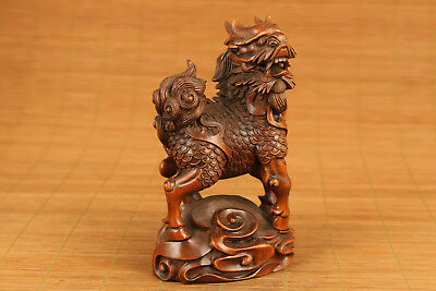 Big chinese old boxwood hand carved Kirin feng shui statue collect ornament