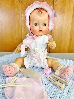 """Vintage 1953 American Character Tiny Tears 16"""" Baby Doll Rubber Molded hair 12pc"""