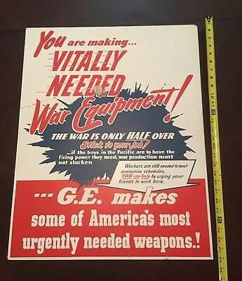Vintage G.E. War Equipment Large Cardboard Poster