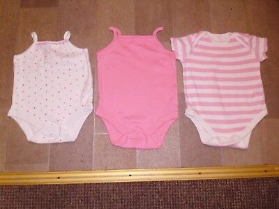 Bundle Of 3 Baby Girls Vests By Florence & Fred Size 9-12 Months