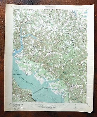 1918 Morattico Virginia Antique USGS Topo Map Rappahannock River Sharps