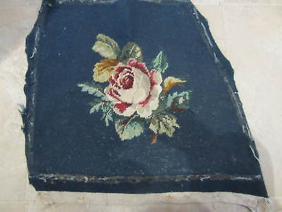 Antique Needlepoint Tapestry Victorian Chair cover Reclaimed Pillow blue