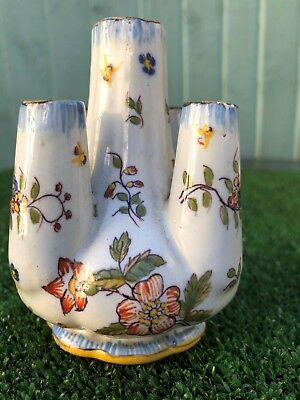 SUPERB 19thC FRENCH FAIENCE TIN GLAZED FIVE FINGER VASE, HAND DECORATED, c1880s
