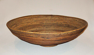 """Antique vtg 19th C Huge 20"""" Adirondack Coiled Willow Rod Footed Bowl Square Nail"""