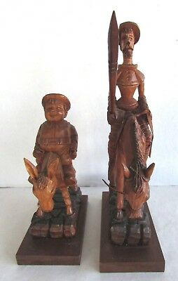 Don Quixote & Sancho Panza - Hand Carved Wood - J Pinel - Mexican Folk Artist