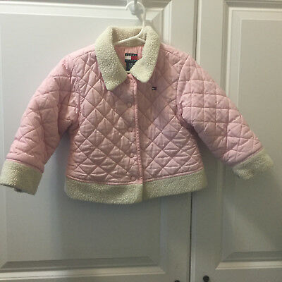 7a962a93 TOMMY HILFIGER Toddler Girl's Pink Coat Jacket Size 4/4T Snap Front Quilted