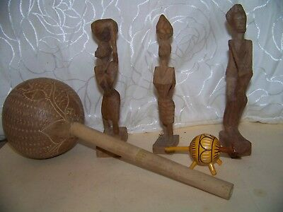 Vintage  Wooden Hand Carved Maraca and Figurines St Lucia Figurine