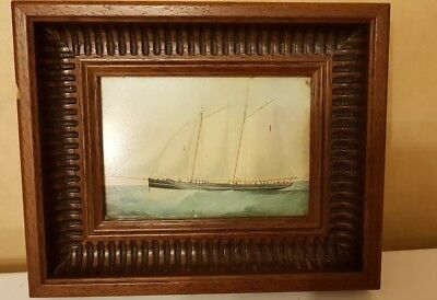 Fine Antique Picture Frame With Ship Picture