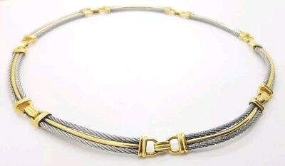 """Charriol 18K Yellow Gold & Stainless Steel Cable Collar Necklace 15.5"""" Designer"""