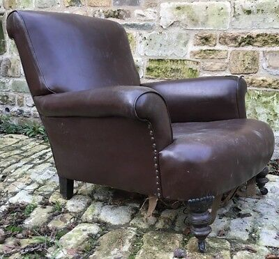 Deep Seated Victorian Armchair Leatherette Turned Feet Reupholstery Project