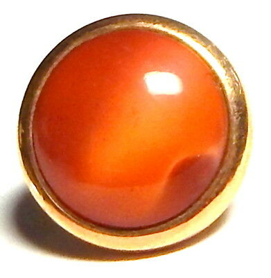 ANTIQUE VICTORIAN GENT'S WAISTCOAT BUTTON w/AMAZING CORAL-ROSE SATIN GLASS JEWEL