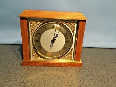 Vintage Smiths Tempora Oak And Brass Mantle Clock