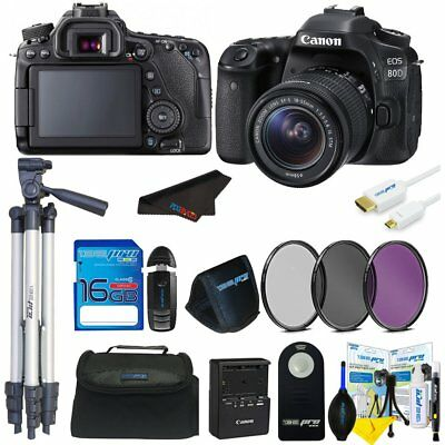 Canon EOS 80D DSLR Camera with 18-135mm Lens + 16GB Basic Accessory Bundle